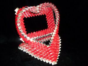 Vintage Hand-Made Cigarette Gum Wrapper PRISON Tramp ART Red Heart Frame 60's