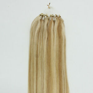 Silicone Micro Beads Loop Ring Tip 100% Real Remy Human Hair Extensions Straight