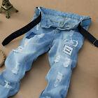 Men's Ripped Trousers Skinny Biker Jeans Destroyed Frayed Slim Fit Denim Pants