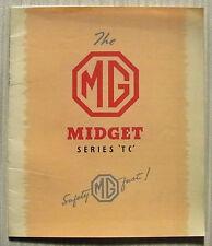 MG MIDGET SERIES TC Car Sales Brochure 1949