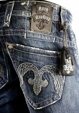 """$220 Mens Rock Revival Jeans """"Wings Fleur Design"""" Dark Denim Boot Cut 32 X 32"""