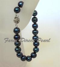 "Genuine ROUND 9-10mm Peacock Black Pearl Bracelet 8"" Cultured Freshwater"