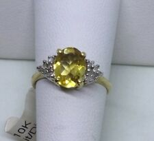 Citrine ring diamonds 10 K yellow gold large oval size 7