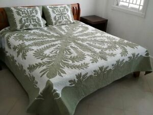 Hawaiian Quilt  BEDSPREAD 100% hand quilted/hand appliqué 2 shams CROWN & KAHILI