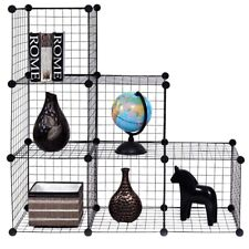 6 Cubes Home Wire Grid Cube Shelves Bookcase Storage Cabinet Shelf Organizer