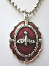 "Large Holy Spirit Medal Red Enamel Italy Necklace 24"" Stainless Ball Chain"