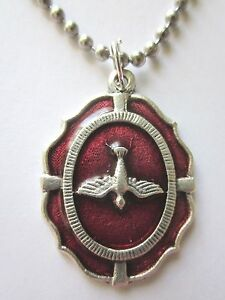 """Large Holy Spirit Medal Red Enamel Italy Necklace 24"""" Stainless Ball Chain"""