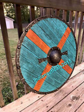 Medieval Larp Warrior Wood & Steel Viking Round shield Armor Templar Shield