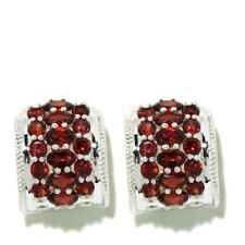 Himalayan Gems Sterling Silver Round and Oval Garnet Hugger Hoop Earrings HSN