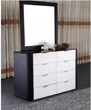 BLACK & WHITE PU Leather Dresser Dressing Table Mirror Storage Chest Drawers