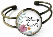 Disney Auntie Cuff Bracelet Bronze Glass Top Handcrafted for Special Aunt