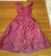 Vintage 1940's Taffeta Dark Pink Ball Gown Bow Wrap Front