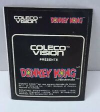 Donkey Kong  Colecovision Cartridge Label Original Canadian French