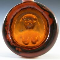 "Boda Vintage Amber Glass Nude Lady ""Eve"" Bowl by Erik Hoglund"