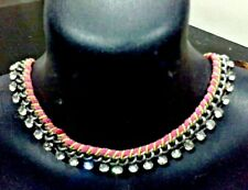 VINTAGE DIVA DIAMANTE CHAIN HOT PINK & LIME SILVER TONE COLLAR NECKLACE  J054