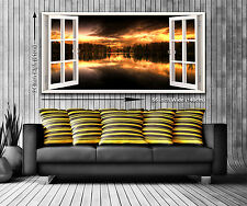Sunrise Lake Panoramic Canvas Print XXL 4.5 ft Wide x 2 ft High 55 in x 24 in