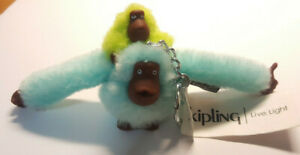 *KIPLING BABY MONKEY* Keychain Light Blue Mom & Green Baby