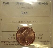 Super Gem Canada Elizabeth II 1989 Small Cent - ICCS MS-66 (XAG 358)