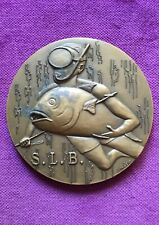 Antique and rare bronze medal of S.L.B. underwater fishing