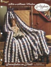 Snowflakes on Plaid Mile a Minute Afghan Pattern The Needlecraft Shop 1997 TNS