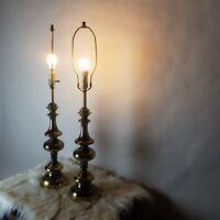 Vintage Pair Tall Antiqued Brass Stiffel Hollywood Regency Table Lamps U.L.