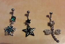 Lot of 3 Belly Button Ring Dangle Navel Set Piercing Jewelry Stars Dragonfly