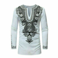 African Tribal Shirt Men Dashiki Print Hippie Top Blouse Casual Shirts Popular