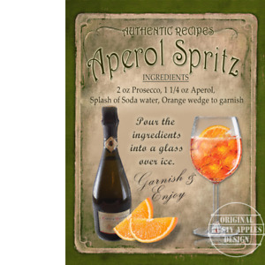Aperol Spritz Cocktail Authentic Recipe Metal Sign 3 Sizes To Choose From
