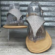 Xhilaration Women's Grey Rhinestone T Strap Slingback Buckle Size 10 Sandal