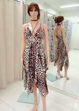 Women Casual Leopard Print Sexy Halter Dress Lyrical Dance Costume Size 6,8 &10.