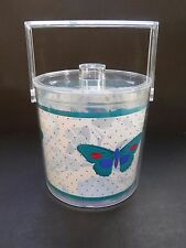Vintage Stotter USA Turquoise Butterfly  Ice Bucket with Liner