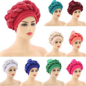Women African Braid Turban Cap Head Wrap Auto Geles Headtie Muslim Hijab Bonnet