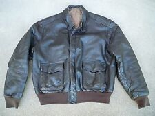 Vintage Men's US Navy Flight Jacket Coat Goatskin Pilot Fly Leather USN Size 42