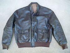 Vintage Men's US Navy Flight Jacket Coat Goatskin Pilot Fly Leather USN Size 42