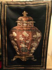 "Black Gold Orange Cream Floral Urn Vase Tapestry  51"" x 34"""
