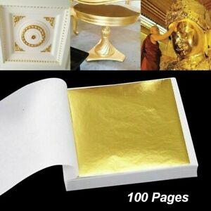 100 Seiten 24K Gold Folien Blatt Kunst Design Rahmen Dekorativ Heim Dekor