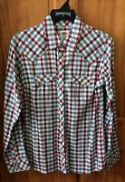 DICKIES Women's Red White Blue Long Sleeve Plaid Snap Front Work Shirt FL051PNR