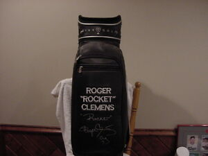 GORGEOUS Roger Clemens Autographed Personally Owned Nike Golf Bag. WOW-MINT!!
