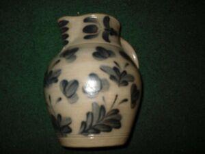 WISCONSIN Pottery Works Salt Glaze  Large Decorative Pitcher - 1989 Ltd  MEL