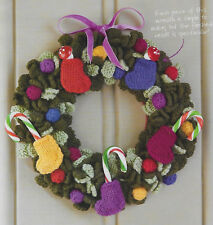 Colourful Christmas wreath knitting pattern 25cm diameter decorations DK 881