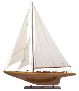 "Shamrock I Yacht 1898 America's Cup Wood Model 39.5"" UK Challenger Sailboat New"