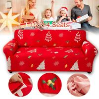 1/2/3/4 Seater Christmas Slipcover Stretch Xmas Sofa Cover Slip Couch Elastic