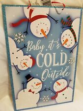 """NEW WOODEN CHRISTMAS ORNAMENT SEASONAL DOOR DECOR """"BABY IT'S COLD OUTSIDE"""""""
