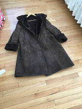 ✨ Genuine Shearling Long Suede leather hooded coat Sz L / XL