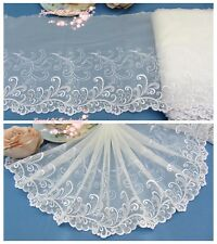 """8.5""""*1Y Embroidered Tulle Lace Trim~Ivory White+White+Silver~Seaside Diary~"""