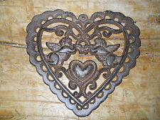 Cast Iron Victorian Style Heart Plaque Sign Rustic Cherub Wall Decor Angel