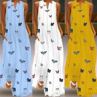 UK Womens Sleeveless V-Neck BOHO Butterfly Print Beach Party Maxi Dress Sundress