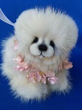 "4"" Baby Polar bear cream Mink Mink fur bear Susan Arnot Ooak"