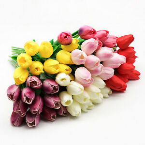 6/12 Artificial Real Touch PU Tulips Flower Wedding Party Bridal Home Decoration