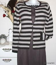 NOA GIACCA - S 36 - BASICO Around lavorato a maglia strisce - Lana - Skiffer